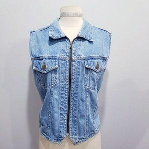 Vintage 80's 90's denim Jean vest top Large